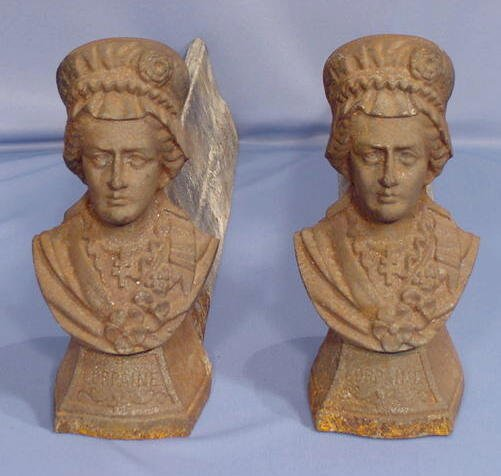 532: Pair of Cast Iron and Figural Andirons NR