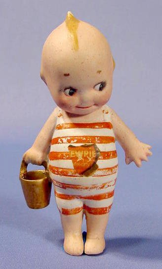 1131: Rose O'Neill Bisque Kewpie in Bathing Suit NR