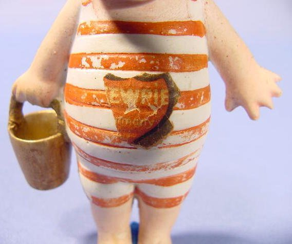 1131: Rose O'Neill Bisque Kewpie in Bathing Suit NR - 2