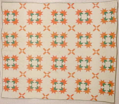 3042: Antique Quilt w/ Pink, White, & Green Back NR