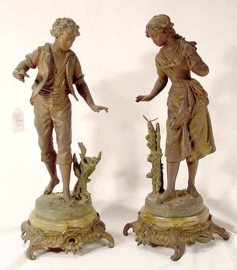 3024: Bruchon Boy & Girl Staues on Onyx / Brass Base NR