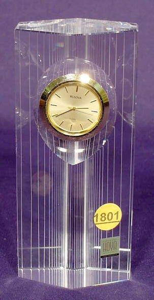 1801A: Bulova Quartz Watch Clock in Hoya Crystal Column