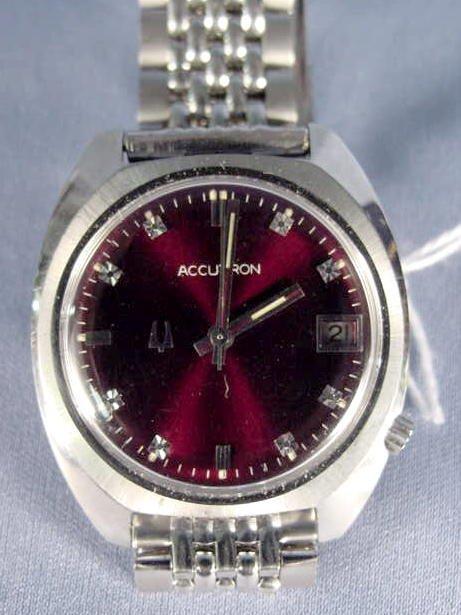 1815A: Bulova Accutron Date Maroon Dial Wrist Watch NR - 2