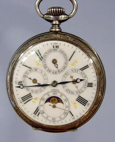 1820A: J. H. Hasler Calendar & Moon Phase Pocket Watch - 3