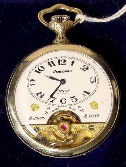 1823: Hebdomas Arnes 8 Day Swiss Pocket Watch NR
