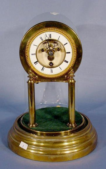 1874A: French Pillar and Glass Dome Clock NR