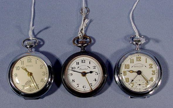 1948: 3 Swiss Alarm Pocket Watches NR