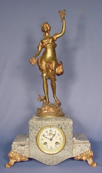 2002: Art Nouveau Bronze and Marble Statue Clock NR
