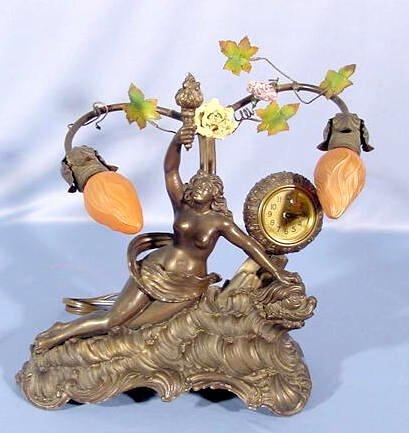 2003: Spelter Art Nouveau Lamp Clock NR