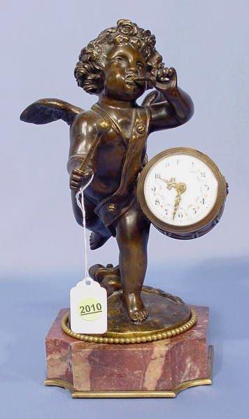 2010: French Bronze Winged Cherub Clock. NR
