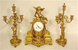 2162 3 Pc French Bronze Figural Clock Set NR