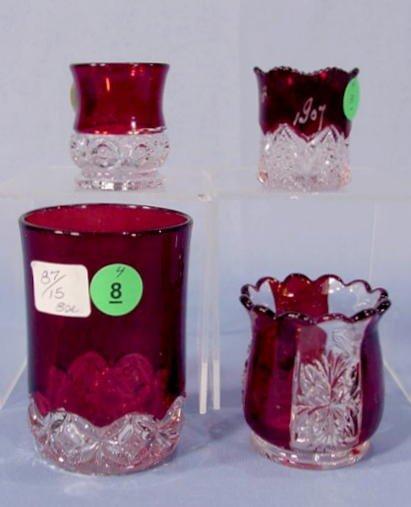8: 4 Ruby Flash Glass Items NR