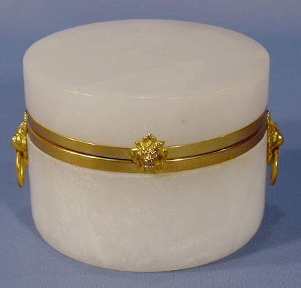 9: White Alabaster Box with Hinged Lid NR