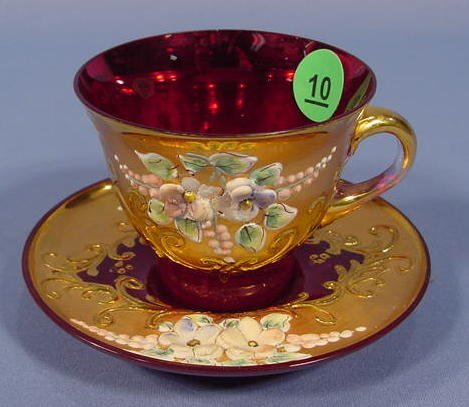 10: Ruby Red Cup and Saucer NR