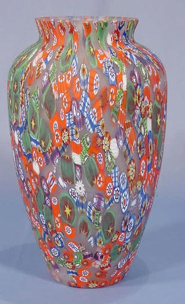 18: Millefiori and Frosted Glass Vase NR