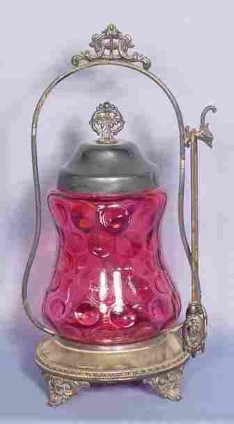Cranberry Thumbprint Pickle Castor & Holder NR