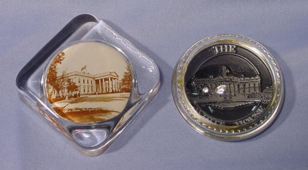 506: 2 White House Glass Paper Weights NR