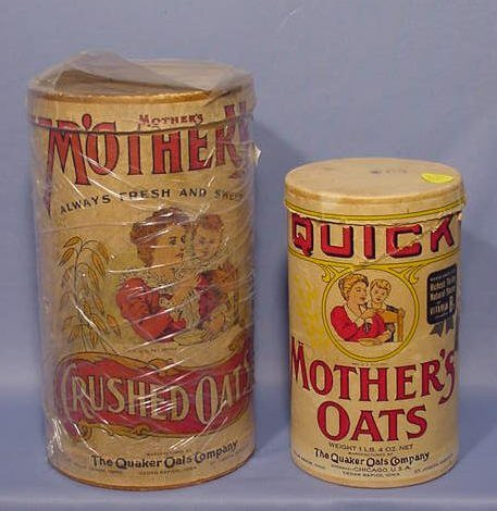 """508: 2 Quaker """"Mother's Oat's"""" Containers NR"""