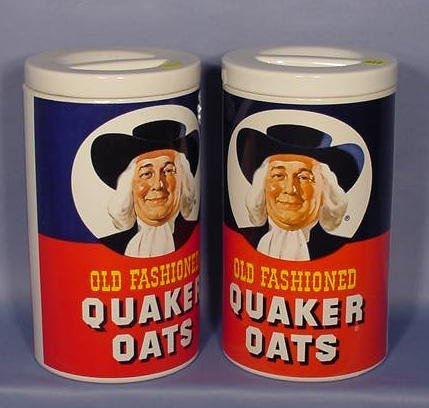 514: 2 Quaker Oats Cookie Jars NR