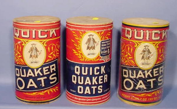 519: 3 Quaker Oats Paper Containers NR