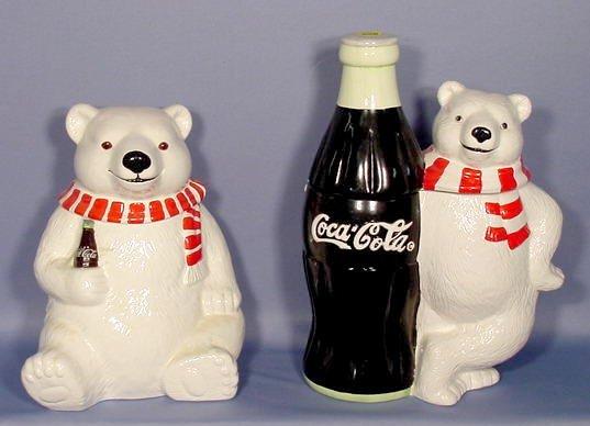 526: 2 Ceramic Coca Cola Bear Cookie Jars NR