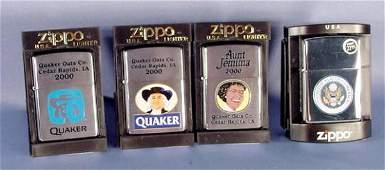 839: 4 Zippo Lighters: Quaker Oats, Aunt Jemima NR