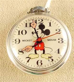 1970's Bradley Mickey Mouse Pocket Watch NR
