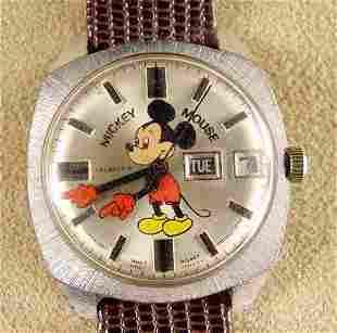 1971 Helbros Mickey Calendar Wrist Watch NR