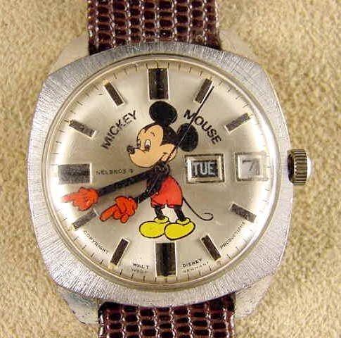 2009: 1971 Helbros Mickey Calendar Wrist Watch NR