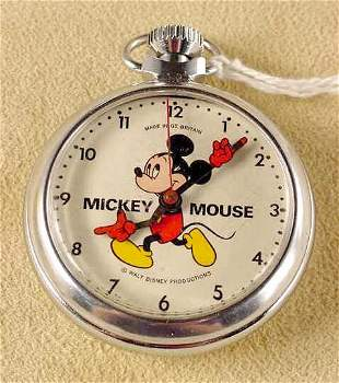 1973 Mickey Mouse Pocket Watch Great Britain NR