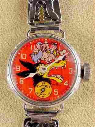 1934 Big Bad Wolf 3 Little Pigs Wrist Watch NR