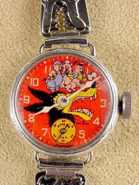 2031: 1934 Big Bad Wolf 3 Little Pigs Wrist Watch NR