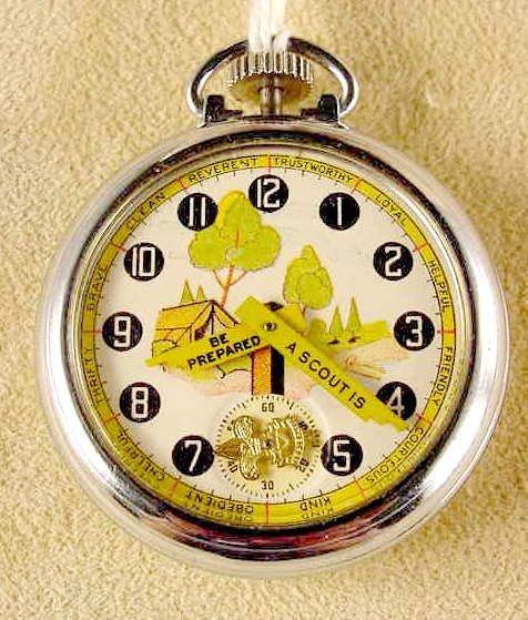 2033: 1922 Ingersoll Boy Scout Pocket Watch NR