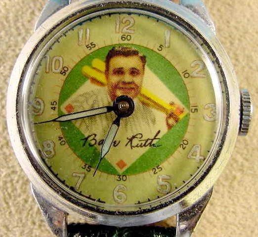 2087: 1949 Exacta Babe Ruth Wrist Watch & Baseball Case