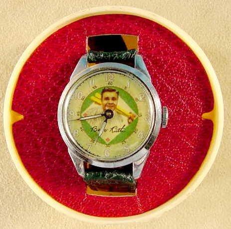 2087: 1949 Exacta Babe Ruth Wrist Watch & Baseball Case - 4