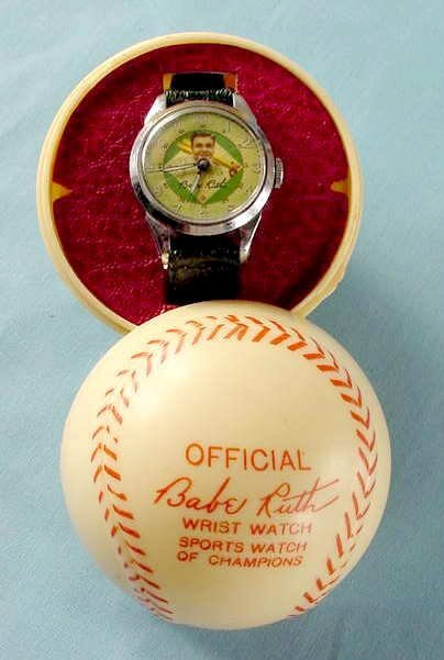 2087: 1949 Exacta Babe Ruth Wrist Watch & Baseball Case - 8