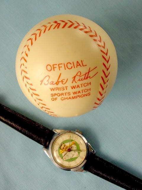 2087: 1949 Exacta Babe Ruth Wrist Watch & Baseball Case - 9