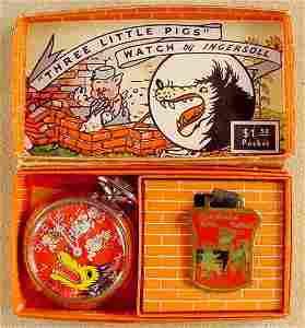2103: 1934 Ingersoll 3 Little Pigs & Wolf Pocket Watch