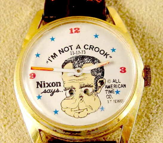 2387: 1974 American Time Nixon I'm Not A Crook Watch NR