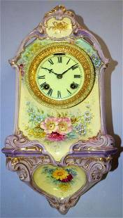 Ansonia Royal Bonn No. 1 Porcelain Hanging Wall Clock:
