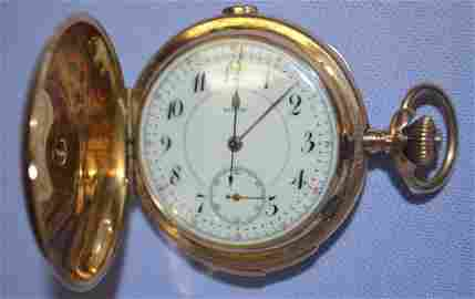 14 K Gold and Diamond 1/4 Hour Repeater Pocket Watch: