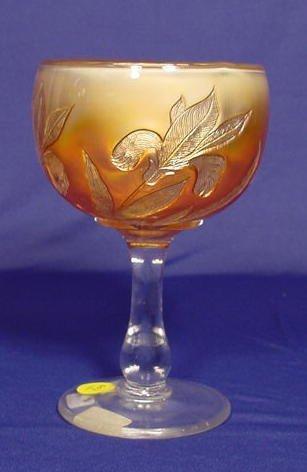 "501: Marigold Carnival Glass ""Iris"" Goblet NR"