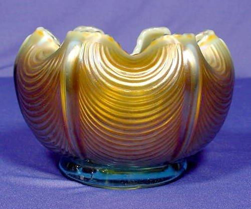"503: Carnival Glass Rose Bowl ""Drapery"" NR"