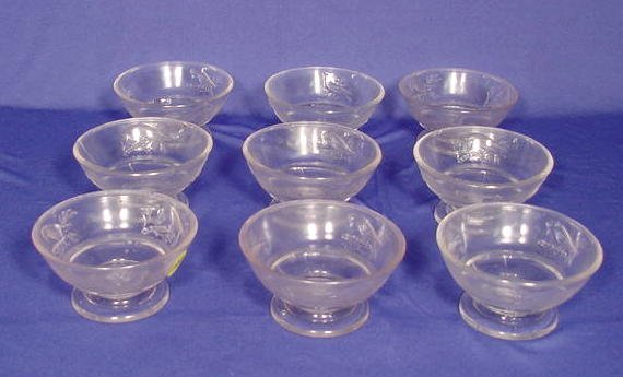 "505: Set of  9 Clear ""Cardinal""  Berry Bowls NR"