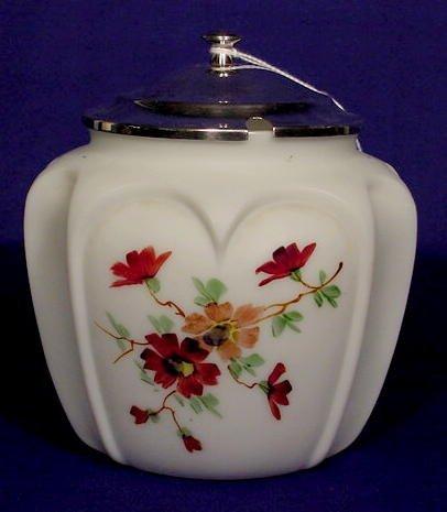 511: Hand Painted White Satin Glass Sugar Bowl NR
