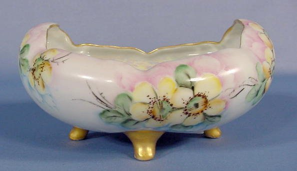 517: Czechoslovakian Floral Hand Painted Bowl NR