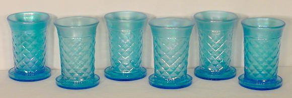 518: 6 Carnival Glass Tumblers with Coasters NR