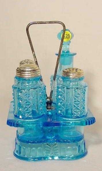 525: Pattern Glass Table Condiment Castor Set NR