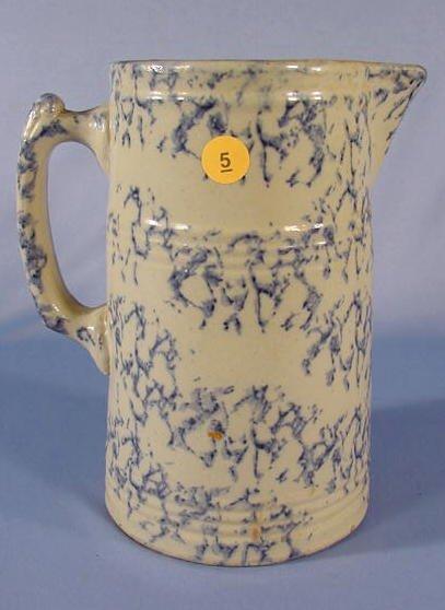 5: Blue & White Sponge Decorated Stoneware Pitcher