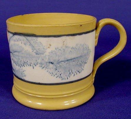 10: Yellow Ware Mug with Cobalt Blue Design NR